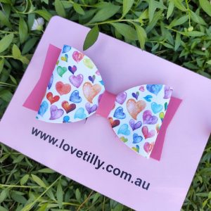 water colour heart bow